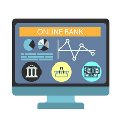 online banking payment computer monitor vector image vector image