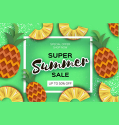 Pineappple top view ananas super summer sale vector