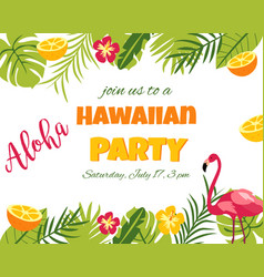 tropical floral poster with flamingo vector image vector image