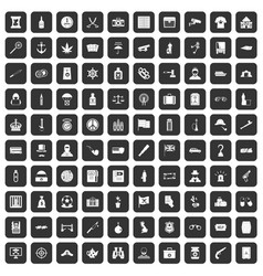 100 offence icons set black vector