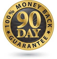 90 day 100 money back guarantee golden sign vector