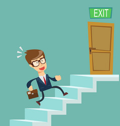 a young businessman going upstairs steadily vector image