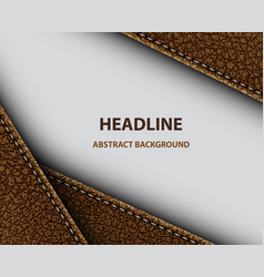 Abstract background with stitched brown leather vector