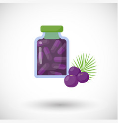 Acai berries capsules flat icon vector