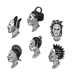 african national male hairstyles profile of a man vector image