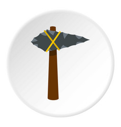 Ancient stone axe icon circle vector