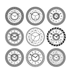 Antique clocks isolate on white vintage watch vector