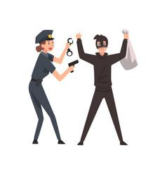 Armed female police officer arrested bank robber vector