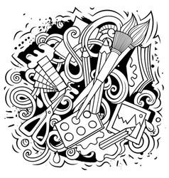 Art doodles artist elements and objects cartoon vector