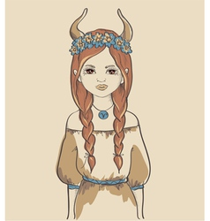 Astrological sign of taurus girl vector