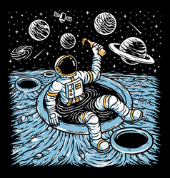 Astronaut chilling on planet vector