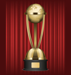 award made gold globe on pedestal red curtain vector image