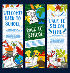 back to school chalkboard banners vector image