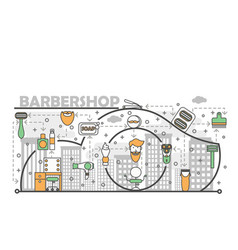 Barbershop concept flat line art vector