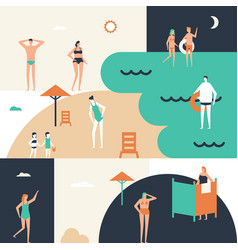 beach holiday - flat design style conceptual vector image