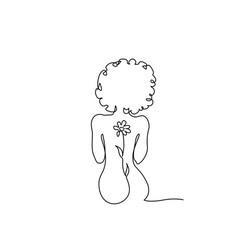 Beautiful naked woman sitting back one line vector