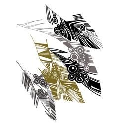 birds feather graphic color sketch vector image