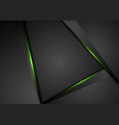 black abstract tech background with green light vector image
