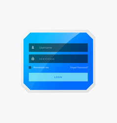 blue login form template design in style vector image