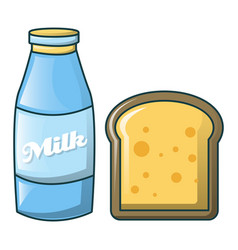 Bottle of milk and bread icon cartoon style vector