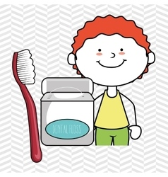 Boy with dental floss isolated icon design vector