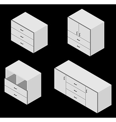 Bureau white isometric vector image