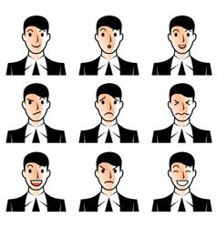 Businessman face emotions vector image