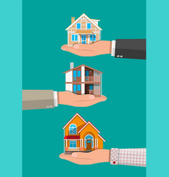businessman hand holding house real estate vector image