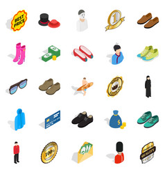 Buying clothes icons set isometric style vector