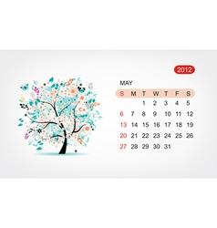 calendar 2012 may Art tree design vector image