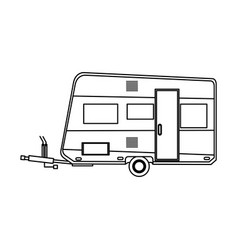 Camper trailer vacation travel outline image vector