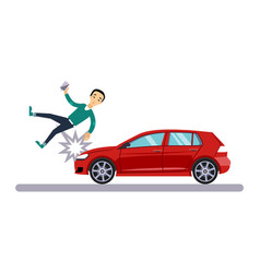 car and transportation issue with a pedestrian vector image