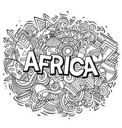 Cartoon cute doodles africa word funny vector