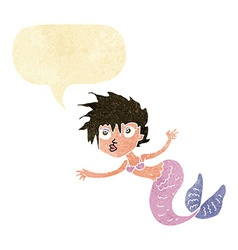 Cartoon mermaid with speech bubble vector