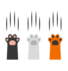 Cat claw scratching set on white background vector