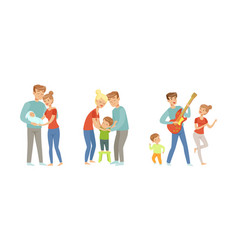 cheerful family couple nursing and playing with vector image