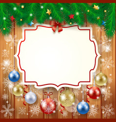 christmas background with label and baubles vector image