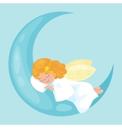 Christmas holiday flying angel with wings sleep on vector