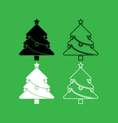 christmas tree icon black and white color set vector image