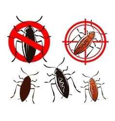 Cockroach pest control icons set vector
