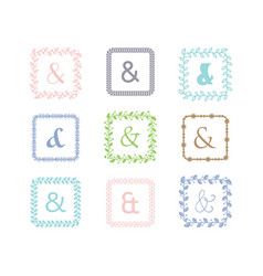 Colorful ampersand square leaves border pattern vector
