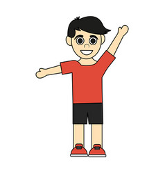 colorful caricature black hair boy with open arms vector image vector image