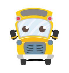 Colorful cute and tender school bus kawaii vector