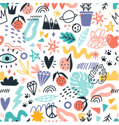 Colorful various plants symbols and doodle design vector