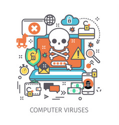 concept of virus piracy hacking and security vector image