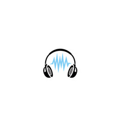 creative headphone pulse logo vector image