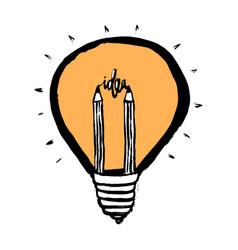 creative idea icon lightbulb and pencil business vector image