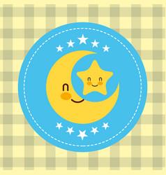 Cute kawaii moon and star label decoration vector
