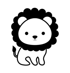 Cute lion animal isolated icon vector