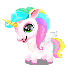 Cute unicorn pony with mane colors rainbow vector